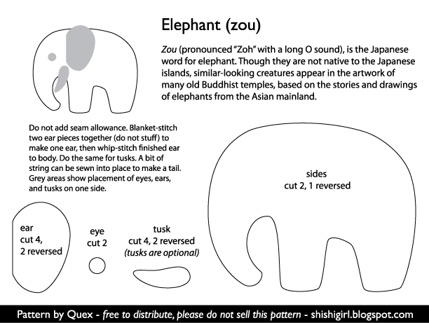 Elephant Template For Sewing Free Elephant Sewing Template